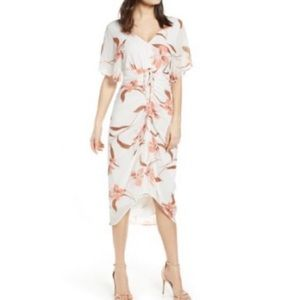Leith Ivory Floral Rushed Midi Dress NWOT